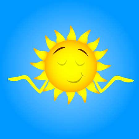 closed eyes: Sun Face Cartoon Character Smile, Closed Eyes, Shrug Shoulders Flat Vector Illustration Illustration