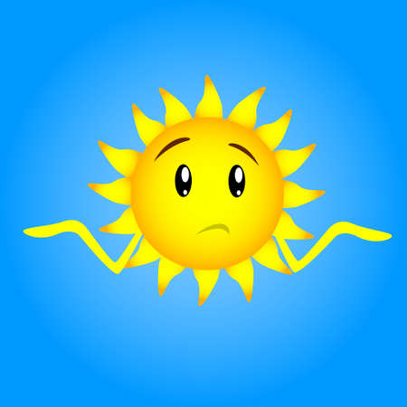 Caractère Sun Visage Cartoon Sad Expression Incertain Confus Unexpected Gesture Hand No Idea Expression Shrug épaules plat Illustration Vecteur