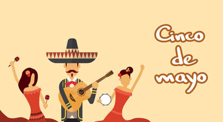 latin american girls: Mexican People Group Wear Traditional Clothes Celebrate Mexico National Holiday Cinco De Mayo Flat Vector Illustration