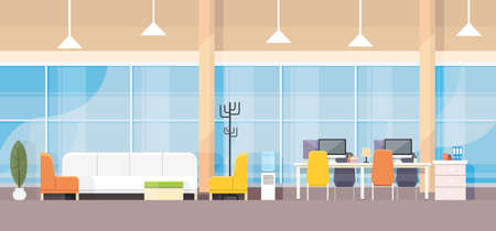 Modern Bank Office Interior Workplace Desk Flat Design Vector Illustration Çizim