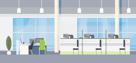 modern interior design: Modern Bank Office Interior Workplace Desk Flat Design Vector Illustration Illustration