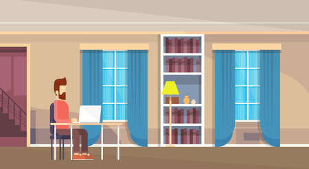 casual business man: Casual Business Man Sitting Desk Working Laptop Computer Home Interior Flat Vector Illustration Illustration