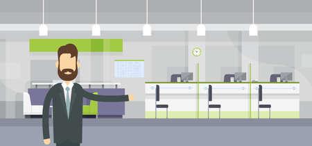 finance department: Banker Worker Welcome Gesture Modern Bank Office Workplace Flat Design Vector Illustration