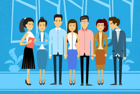 asian business people: Asian Business People Group Office Asia Businesspeople Team Flat Vector Illustration
