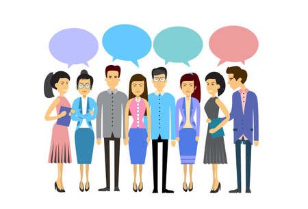 asian business people: Asian Business People Group Casual Crowd With Chat Bubble Social Network Communication Concept Flat Vector Illustration