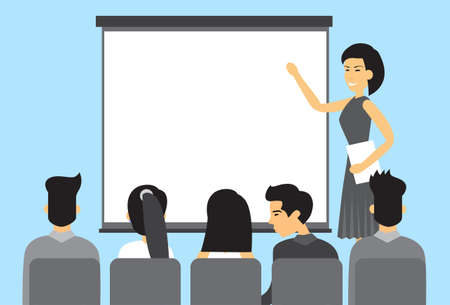 asian business meeting: Asian Business People Group Presentation Asia Businesspeople Team Training Conference Meeting Flat Vector Illustration Illustration
