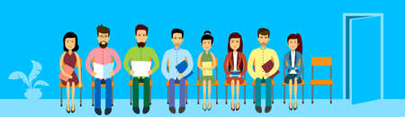asian business people: Asian Business People Group Sitting In Line Queue Door Asia Businesspeople Banner Flat Vector Illustration