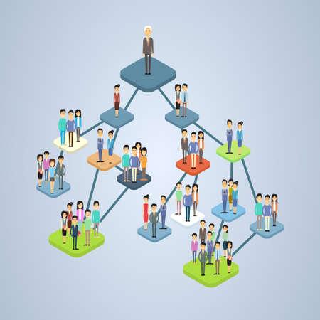 Geschäftsunternehmensstruktur Management Organigramm Geschäftsleute Gruppe Menschen Team isometrischen 3D-Vektor-Illustration