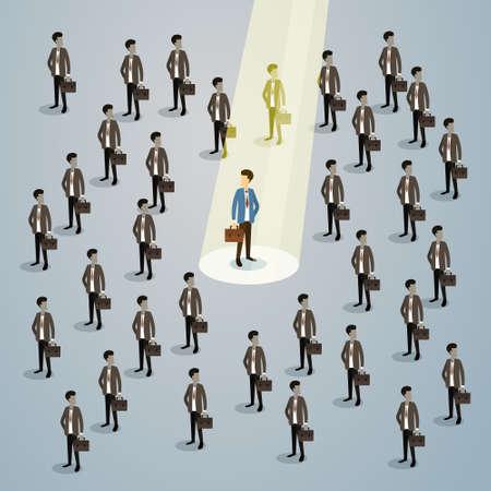 recruit: Businessman Spotlight Human Resource Recruitment Candidate, Business People Hire Concept 3d Isometric Vector Illustration