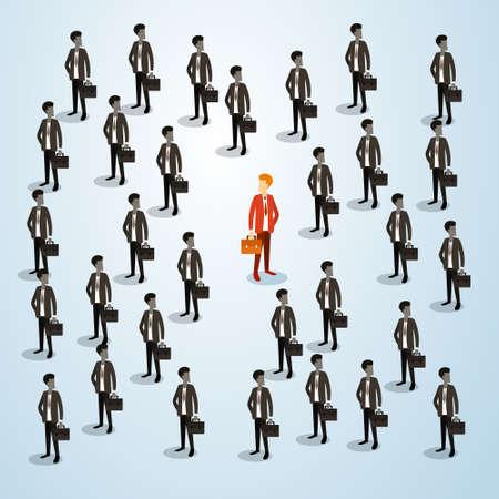 Red Businessman Human Resource Recruitment Candidate, Business People Crowd Hire Concept 3d Isometric Vector Illustration Ilustração Vetorial