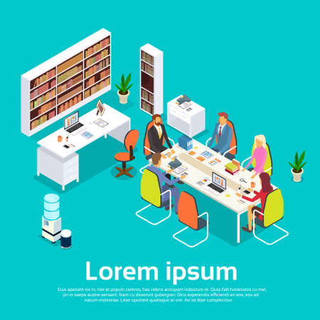 Business People Meeting Office Desk Businesspeople Working 3d Isometric Vector Illustration