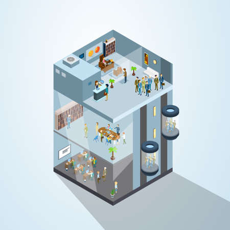 office space: Modern Business Center Office Building Businesspeople Working Interior 3d Isometric Vector Illustration