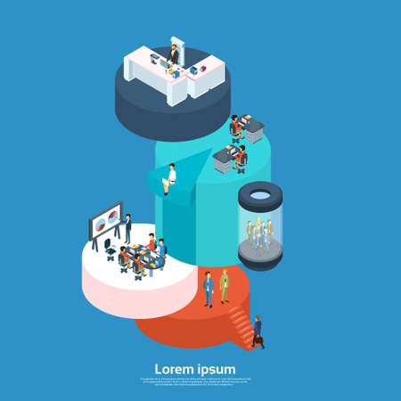 Business Modern Office Businesspeople Group 3d Isometric Vector Illustration