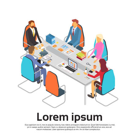 discussing: Business People Meeting Discussing Office Desk Businesspeople Working Copy Space 3d Isometric Vector Illustration