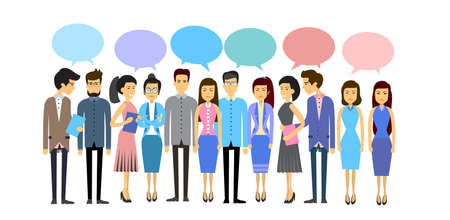 asian business group: Asian Business  People Group Casual Crowd With Chat Bubble Social Network Communication Concept Flat Vector Illustration