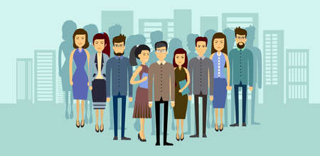 asian business people: Asian Business People Group Over City Background Asia Businesspeople Team Flat Vector Illustration Illustration