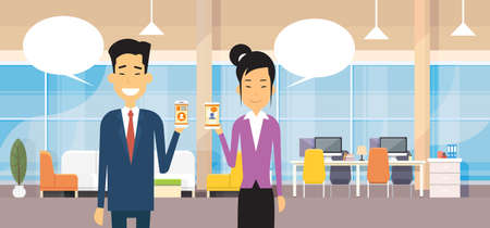 smart phone woman: Asian Business Man And Woman Hold Cell Smart Phone Chat Bubble In Modern Office Flat Design Vector Illustration Illustration