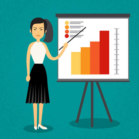 asian business woman: Asian Business Woman With Flip Chart Seminar Training Conference Brainstorming Presentation Financial Flat Vector Illustration