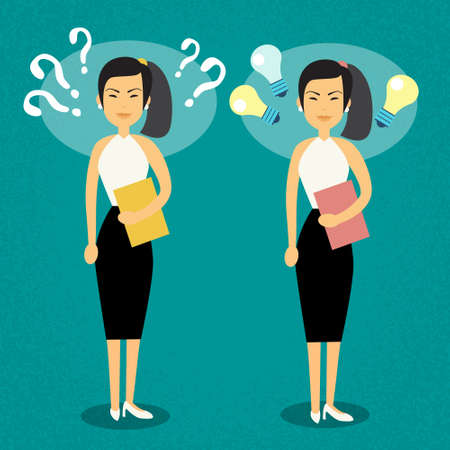 suspicion: Asian Business Woman With Question Mark Light Bulb Problem And New Idea Concept Flat Vector Illustration Illustration