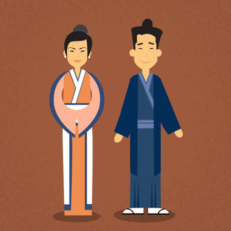 asian couple: Asian Couple Asia Man Woman Wear Traditional Clothes Flat Vector Illustration Illustration