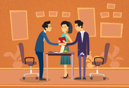 asian business people: Asian Business People Meeting Businessman Shake Hand Discussing Office Desk Flat Vector Illustration