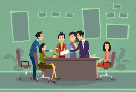 asian business people: Asian Business People Meeting Discussing Office Desk Businesspeople Working Flat Vector Illustration