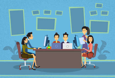 asian business people: Asian Business People Working Computer Meeting Discussing Office Desk Businesspeople Flat Vector Illustration
