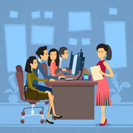 asian business people: Asian Business People Group Work At Computer Desktop Businesswoman With Paper Document Secretary Flat Vector Illustration