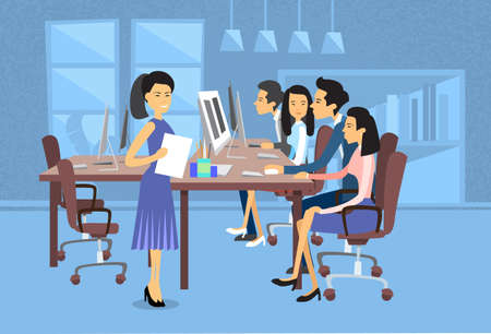 computer work: Asian Business People Group Work At Computer Desktop Businesswoman With Paper Document Secretary Flat Vector Illustration