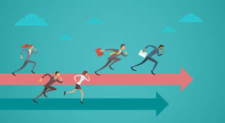 ビジネス人々 のグループが矢印競争概念フラット ベクトル図でチーム リーダーを実行します。  イラスト・ベクター素材
