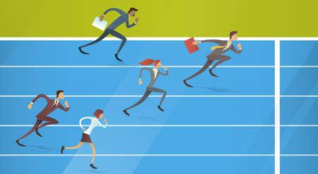 Business People Group Run Team Leader Competition Concept Flat Vector Illustration Ilustração Vetorial