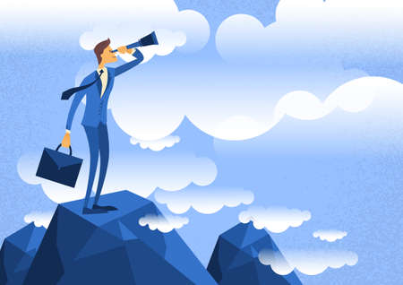 top of mountain: Cartoon Businessman Looking Through Telescope Standing on Top Mountain Flat Vector Illustration