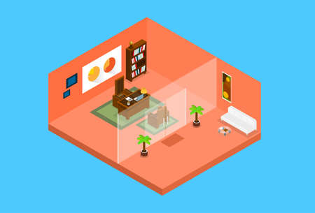 Modern Office Workplace Room Interior Top View 3d Isometric Flat Design Vector Illustration Illustration