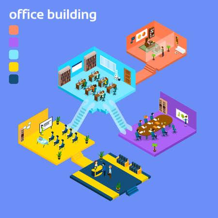 office building interior: Office Building Interior Isometric 3d Vector Illustration
