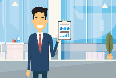 asian business man: Asian Business Man Hold Paper Document With Financial Graph Diagram In Modern Office Flat Vector Illustration Illustration