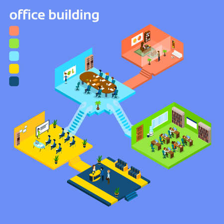 coworker: Office Building Interior Isometric 3d Vector Illustration