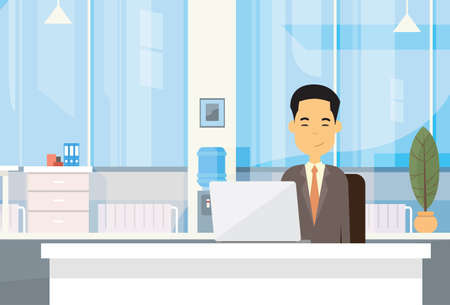 asian business: Asian Business Man Sitting At Desk In Office Working Laptop Computer Flat Vector Illustration Illustration