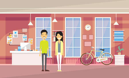 university campus: Asia Couple Asia Man Woman In Modern Office Co-working Center Students University Campus Flat Vector Illustration Illustration