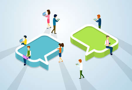 girl using laptop: Social Media Network Communication People Crowd With Digital Device Tablet Phone Laptop Computer Chat Bubble 3d Isometric Vector Illustration