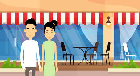 hold hands: Asian Couple Young Man Woman Hold Hands Over Street Cafe Exterior Background Flat Vector Illustration Illustration
