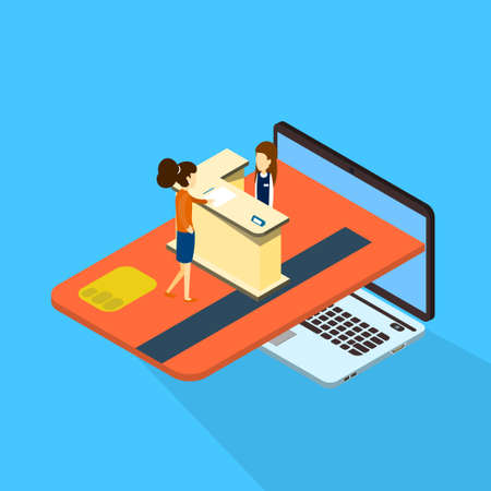woman credit card: Woman Client Consultation Online Payment Laptop Computer With Credit Card 3d Isometric Vector Illustration Illustration