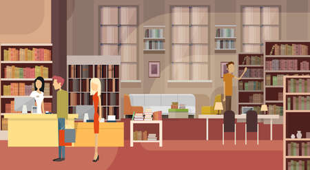 books library: Book Shop Interior Bookstore Customers Sales Woman Cash Desk Flat Vector Illustration