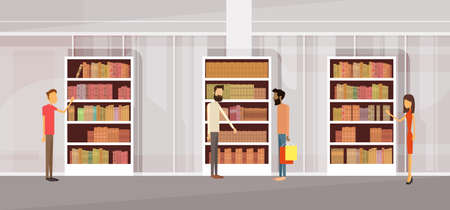 People In Library, Book Shop Interior Bookself Flat Vector Illustration