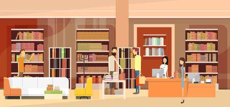 Librería Interior de la librería de la mujer de los clientes ventas en efectivo turística Ilustración vectorial Flat Ilustración de vector