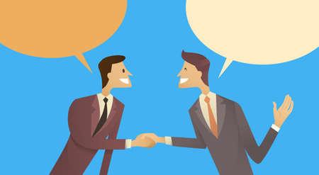 Dos hombre de negocios sacudida de la mano Hablar de Chat Bubble Box Comunicación Acuerdo Concepto, Ilustración del hombre de negocios del apretón de manos del vector