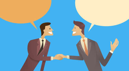 chat box: Two Businessman Hand Shake Talking Chat Box Bubble Communication Agreement Concept, Business Man Handshake Vector Illustration