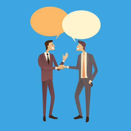 Two Businessman Hand Shake Talking Chat Box Bubble Communication Agreement Concept, Business Man Handshake Vector Illustration