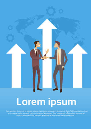 shake up: Business Man Shake Hands Over Graph Arrow Up World Map Background Success Agreement Concept Flat Vector Illustration