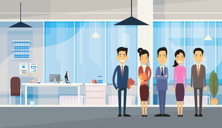 asian business people: Asian Business People Group In Modern Office Flat Vector Illustration Illustration