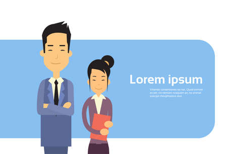 asian couple: Asian Couple Business Man Woman Banner With Copy Space Flat Vector Illustration